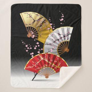Japanese Cherry Fans Medium Sherpa Fleece Blanket