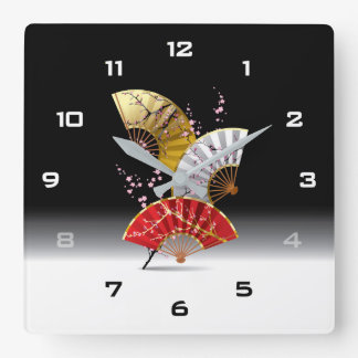 Japanese Cherry Fans Wall Clock