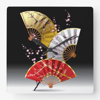Japanese Cherry Fans Wall Clock