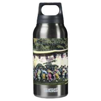 Japanese Cherry Festival Vintage Dancers Insulated Water Bottle