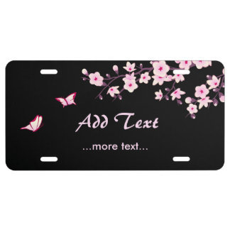 Japanese Cherry Flower Pink Black License Plate
