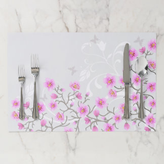 Japanese Cherry Flowers Large Tearaway Placemat
