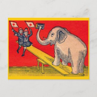 Japanese Children and Elephant Postcard
