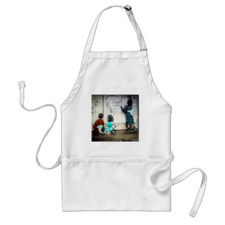 Japanese Children Painting on Paper Walls Vintage Adult Apron