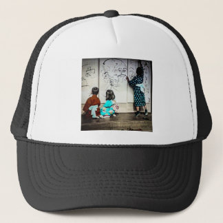 Japanese Children Painting on Paper Walls Vintage Trucker Hat