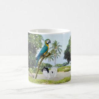 Japanese Chin and Macaw Coffee Mugs