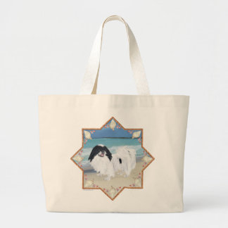 Japanese Chin at the Beach Jumbo Tote Bag