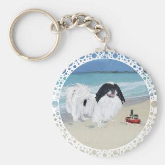 Japanese Chin at the Beach Basic Round Button Keychain