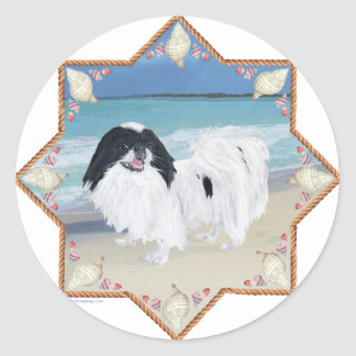 Japanese Chin at the Beach Classic Round Sticker