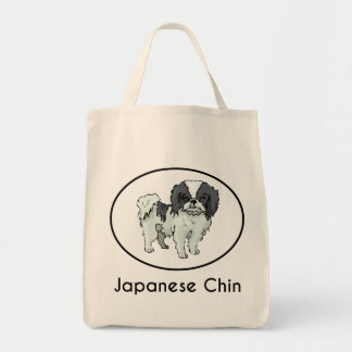 Japanese Chin Grocery Tote Bag