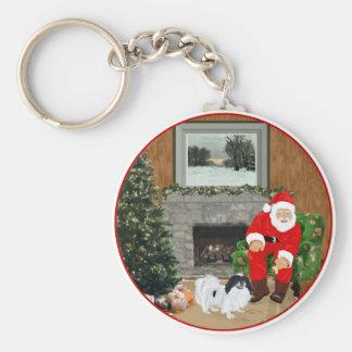 Japanese Chin Christmas Basic Round Button Keychain
