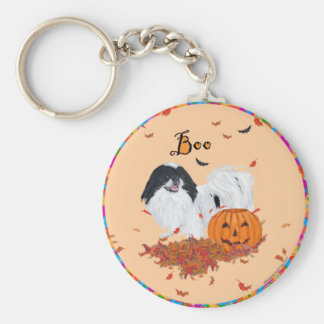 Japanese Chin Halloween Basic Round Button Keychain