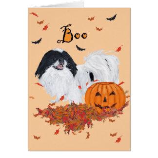 Japanese Chin Halloween Greeting Card