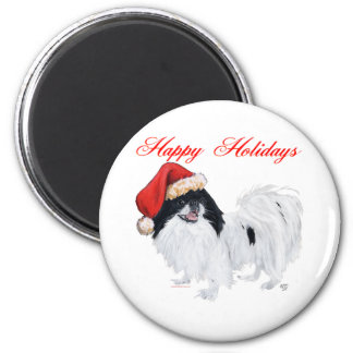 Japanese Chin Happy Holidays 2 Inch Round Magnet