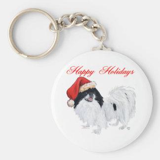 Japanese Chin Happy Holidays Basic Round Button Keychain
