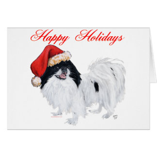 Japanese Chin Happy Holidays Greeting Card