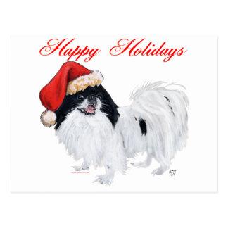 Japanese Chin Happy Holidays Postcard