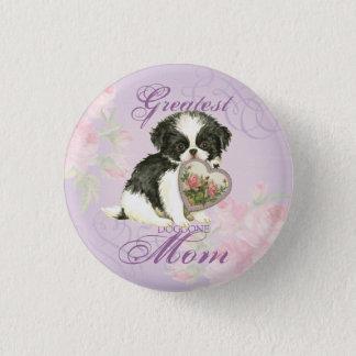 Japanese Chin Heart Mom Pinback Button