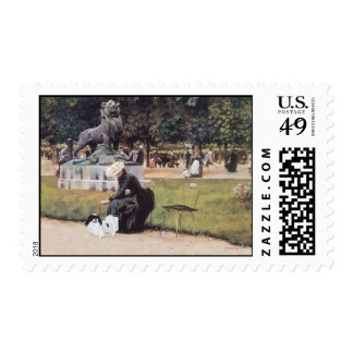 Japanese Chin in the Park Postage Stamp