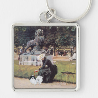 Japanese Chin in the Park Silver-Colored Square Keychain