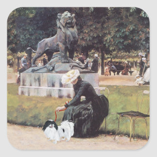 Japanese Chin in the Park Square Sticker