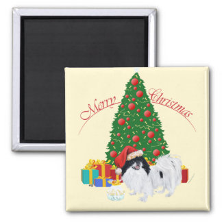 Japanese Chin Merry Christmas 2 Inch Square Magnet