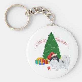 Japanese Chin Merry Christmas Basic Round Button Keychain