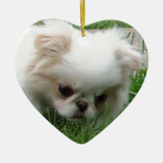 Japanese Chin Puppy 2.png Ceramic Ornament