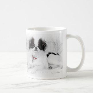 Japanese Chin Puppy on White Wicker Chair Mugs