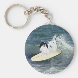 Japanese Chin Surfing Basic Round Button Keychain