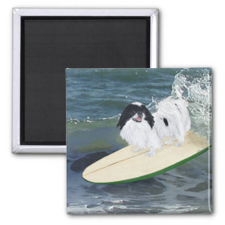 Japanese Chin Surfing 2 Inch Square Magnet