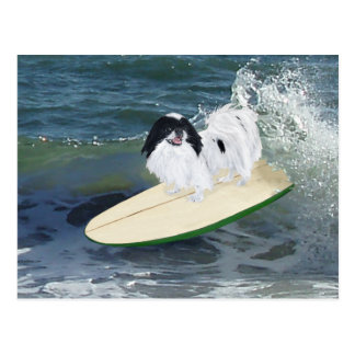 Japanese Chin Surfing Postcard