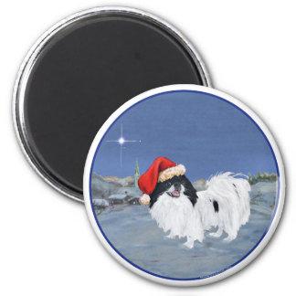 Japanese Chin Winter Night 2 Inch Round Magnet