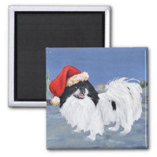 Japanese Chin Winter Night 2 Inch Square Magnet