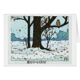 Japanese Christmas Snow & Birds Card