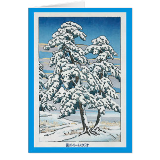 Japanese Christmas Snow & Tree Card