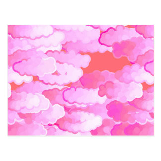Japanese Clouds, Dawn, Orchid Pink and Coral Postcard