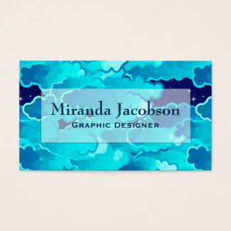 Japanese Clouds, Evening Sky, Turquoise and Indigo Business Card