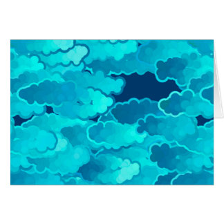 Japanese Clouds, Evening Sky, Turquoise and Indigo Card
