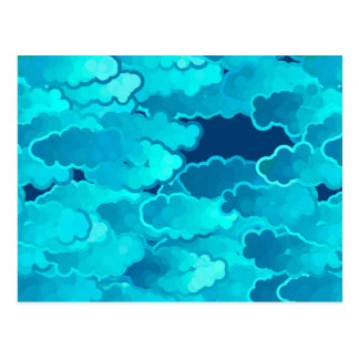 Japanese Clouds, Evening Sky, Turquoise and Indigo Postcard