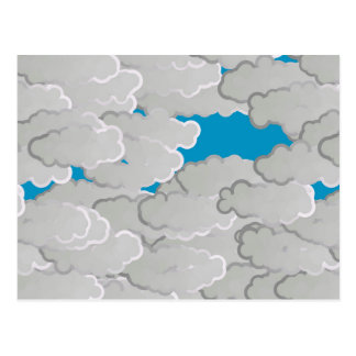 Japanese Clouds, Summer Day, White and Sky Blue Postcard