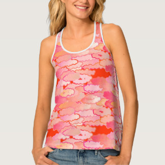 Japanese Clouds, Sunset, Coral, Fuchsia, Pink Tank Top