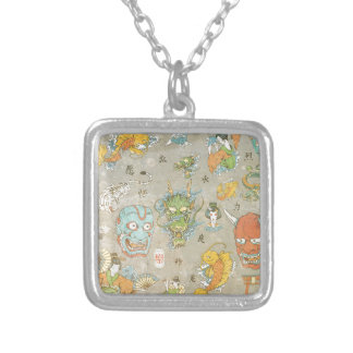 Japanese Collage Square Pendant Necklace
