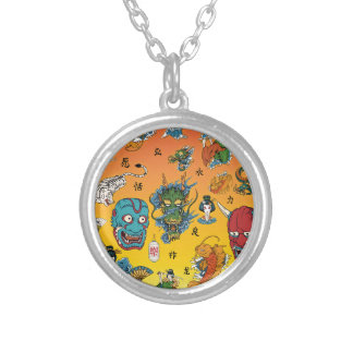 Japanese Collage Round Pendant Necklace