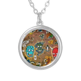 Japanese Collage Silver Plated Necklace