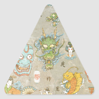 Japanese Collage Triangle Sticker