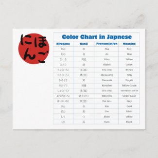Japanese Color Chart Post Cards