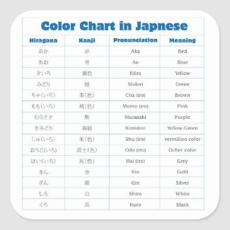 Japanese Color Chart Sticker