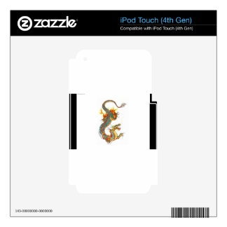 JAPANESE COLORED DRAGON DECAL FOR iPod TOUCH 4G