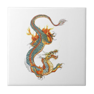 JAPANESE COLORED DRAGON TILE